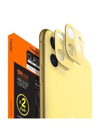 Spigen iPhone 11 Kamera Lens Cam Ekran Koruyucu, Full Cover (2 Adet) Sarı